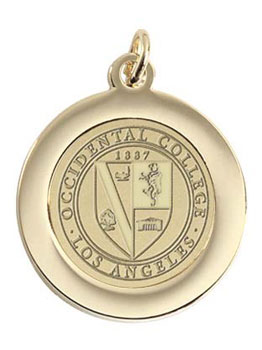 "Occidental College Seal Gold Pendant W/ 18"" Chain"