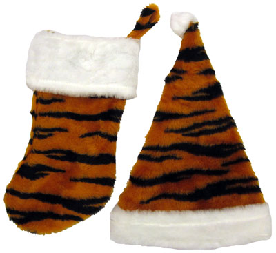 Tiger Stocking And Santa Hat