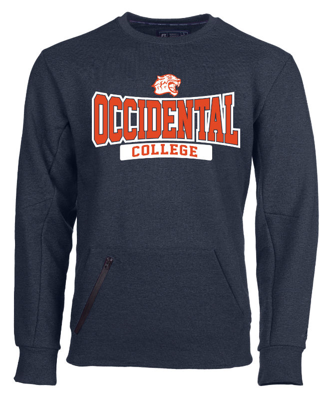 Mens Crew Sweatshirt With Tech Pocket Occidental College Ath Tiger Head (SKU 1180609723)