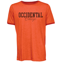 T-SHIRT OCCIDENTAL COLLEGE RINGLEADER IN HABANERO AND CHARCOAL