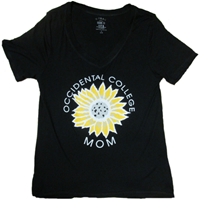 Mom V-Neck T-Shirt Occidental College Sunflower Black